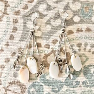 Silver Shell Boutique Spindle Statement Earrings